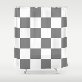 Large Checkered - White and Gray Shower Curtain