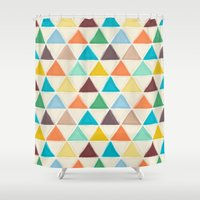 portland Shower Curtains featuring Portland triangles by Sharon Turner