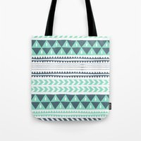 winter Tote Bags featuring Winter Stripe by Alice Rebecca Potter