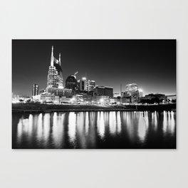 Nashville Skyline Dark Monochrome Canvas Print