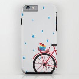 Bicycle & rain iPhone Case