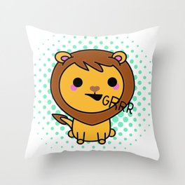 Aki the Ferocious Kawaii Lion Throw Pillow