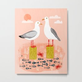 Seagulls - Bird Art, Coastal Nautical Summer Bird Print by Andrea Lauren Metal Print