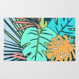 Tropical leaves blue Rug