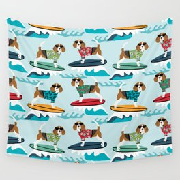 Beagle surfing pattern cute pet gifts dog lovers beagles Wall Tapestry