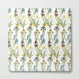 Vintage Floral Pattern | No. 2B | Iris Flowers | Irises Metal Print