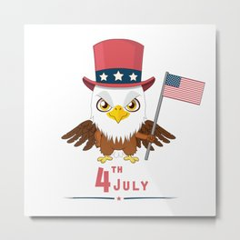 happy 4th july - indenpendence day american eagle style comic Metal Print