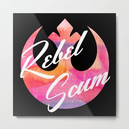 Rebel Scum Sunset Watercolor on Black Metal Print