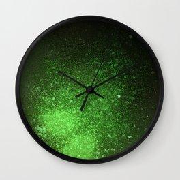 Green and Black Spray Paint Splatter Wall Clock