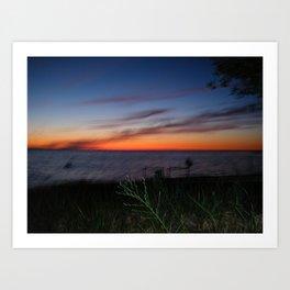 Neon orange & royal blue sunset gradient Art Print