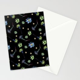 Carnations, Soft Grunge, Black, Blue, Real Flowers Pattern Stationery Cards