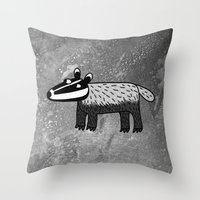 badger Throw Pillows featuring Badger by Nic Squirrell