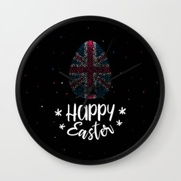 Happy Easter and Easter egg with United Kingdom flag Wall Clock