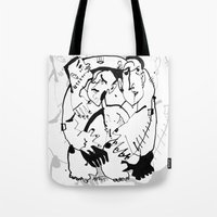 drunk Tote Bags featuring Drunk by 5wingerone