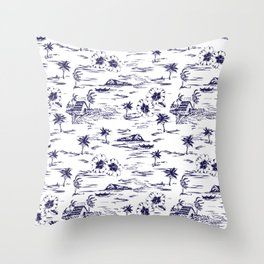 Tropical Island Vintage Hawaii Summer Pattern in Navy Blue Throw Pillow