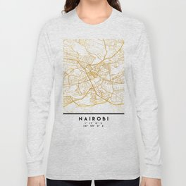 NAIROBI KENYA CITY STREET MAP ART Long Sleeve T-shirt