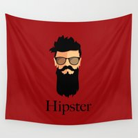 hipster Wall Tapestries featuring Hipster  by Tony Vazquez