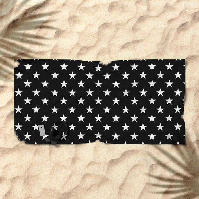 Stars (White/Black) Beach Towel