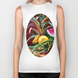 Melons, Sunflowers, Bromeliad Still Life Biker Tank