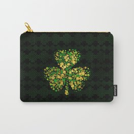 Decorative Irish Shamrock -Clover Gold and Green Carry-All Pouch