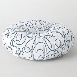 Doodle Line Art | Petrol Blue Lines on White Background Floor Pillow