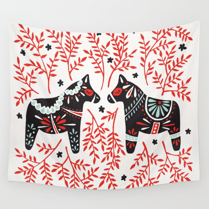 Swedish Dala Horses – Red and Black Palette Wall Tapestry