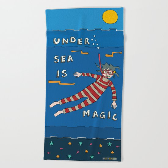 Snorkeling Boy Beach Towel