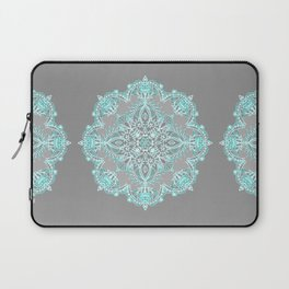 Teal and Aqua Lace Mandala on Grey Laptop Sleeve