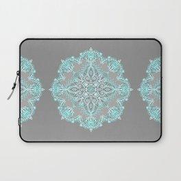 Teal and Aqua Lace Mandala on Grey Laptop Sleeve