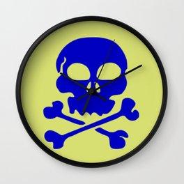Skull Crazy- blue on green Wall Clock