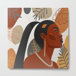 Hand drawn abstract portrait of beautiful african american girl,  monstera leaves background Metal Print