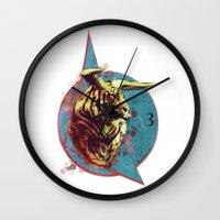 spiritual Wall Clocks featuring Spiritual Tiger by Rene Alberto