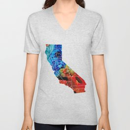 California - Map Counties by Sharon Cummings Unisex V-Neck
