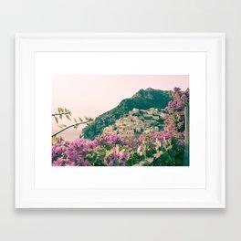 Flowers in Positano, Italy on the Amalfi Coast Framed Art Print