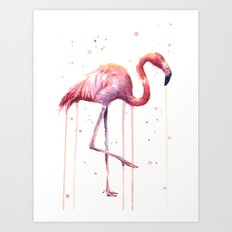 Pink Flamingo Portrait Watercolor Animals Birds | Facing Right Art Print