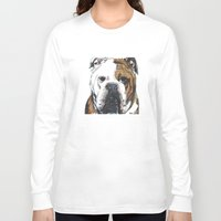 english bulldog Long Sleeve T-shirts featuring English Bulldog  by ali_grace_gal