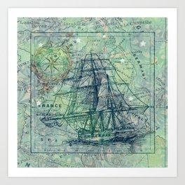 Vintage Clipper Ship Art Print