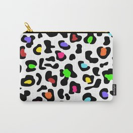 Leopard Print White Rainbow Carry-All Pouch
