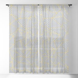 Ab Outline Gold and Grey Sheer Curtain