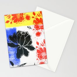 floral abstract in Mondrian colors: linoprint Stationery Cards