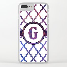 Galaxy Monogram: Letter G Clear iPhone Case