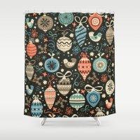 folk Shower Curtains featuring Festive Folk Charms by Poppy & Red