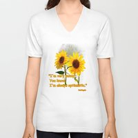 sunflowers V-neck T-shirts featuring Sunflowers by LudaNayvelt