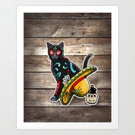 Gato en un Sombrero - Day of the Dead Sugar Skull Cat - Dia de los Muertos Kitty Art Print