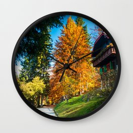 trekking path in an autumn day in the alps Wall Clock