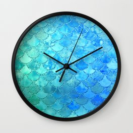 Summer Dream Colorful Trendy Mermaid Scales Wall Clock