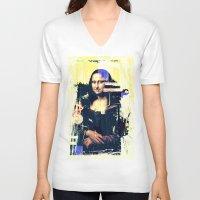mona lisa V-neck T-shirts featuring mona lisa by manish mansinh