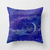 night sky Throw Pillows featuring Night Sky by Forever Art & Fashion_Leslie Troisi
