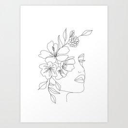 Minimal Line Art Woman Face II Art Print