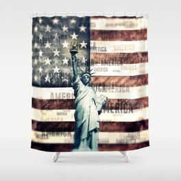 Vintage Patriotic American Liberty Shower Curtain